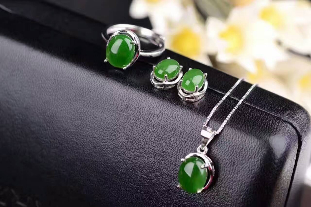 цены Natural green jasper gem jewelry sets natural gemstone ring Earrings Pendant 925 silver Stylish Elegant round women fine jewelry