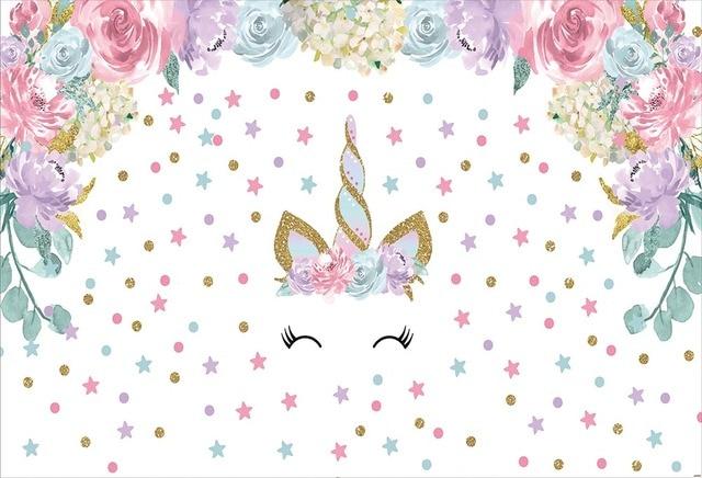 7x5ft Pink Flowers Stars Polka Dots Gold Unicorn Horn Baby Shower