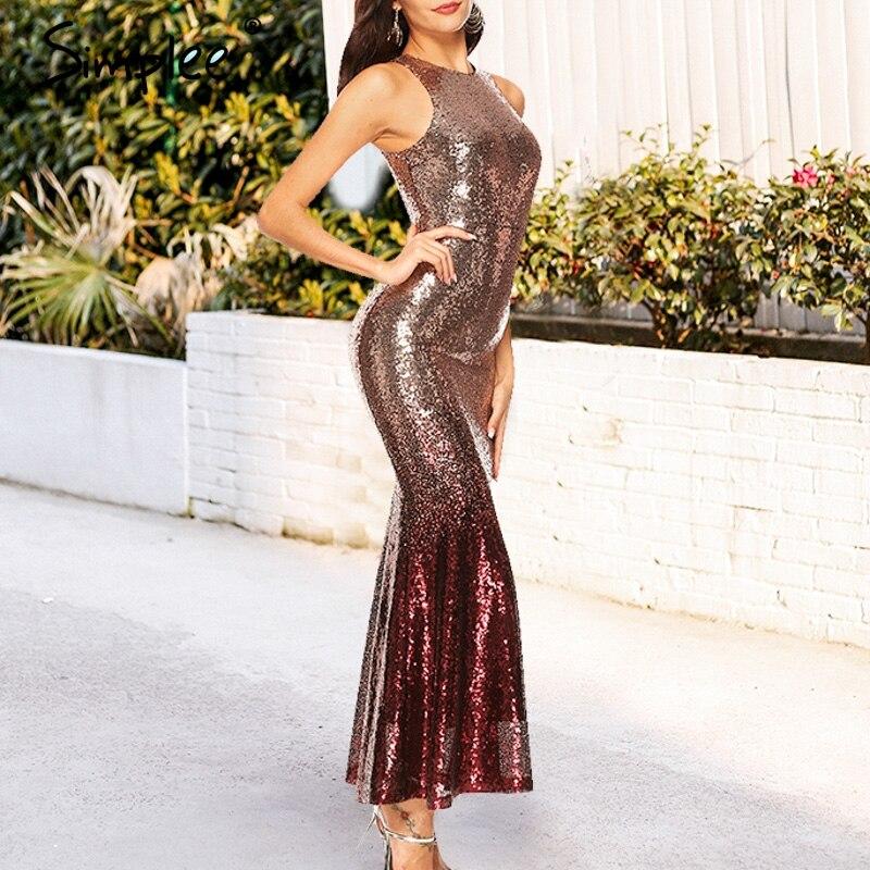 Simplee элегантное вечернее платье с пайетками женское платье без рукавов Осень облегающее Золотое длинное платье рождественское женское Клу...