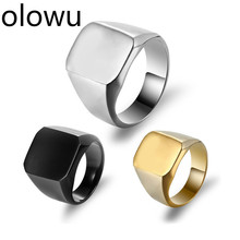 Olowu классические античные простые металлические кольца серебряные золотые черные квадратные большие мужские кольца титановые кольца из нержавеющей стали