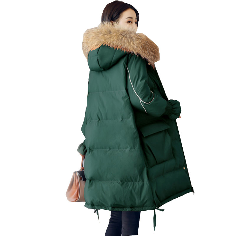 Thicker Big Fur Collar Hooded Padded Women Coat Plus Size Winter Down Cotton Jacket 2018 Long   Parka   New Fashion Overcoat WZ296
