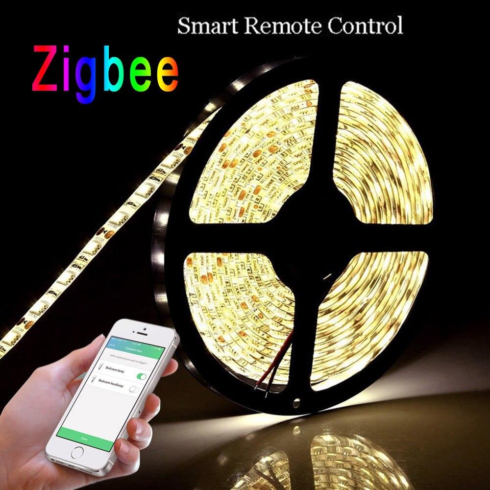 Zigbee LED smart strip lights, app control, remote control, work with zigbee hub, free shipment jiawen zigbee bulb smart bulb wireless bulb app control work with zigbee hub free shipment