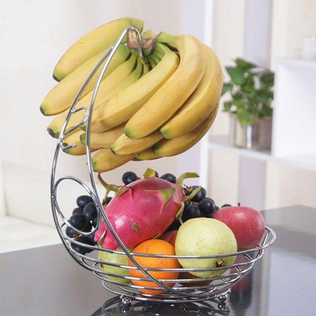 New Metal Fruit Banana Hanger Wire Tree Vegetable Basket Counter Ay69