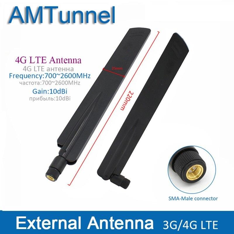 2 pcs 4g antenne 4g LTE antenne externe 10dBi 3g routeur antenne 3g antenne intérieure avec SMA mâle connecteur pour une utilisation en intérieur