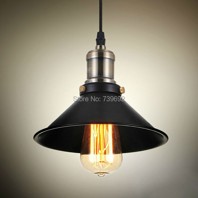 Vintage American Country Style Small Black Iron Pendant Lights Lighting With Plating Bobeche