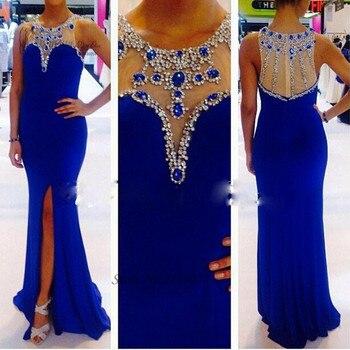 Vestido de Formatura Longo Modest Abendkleider Crystal Royal Blue Prom Dresses 2017 Formal Evening Dress Long Gowns Split Kaftan