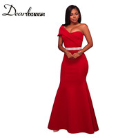 Dear Lover 2017 Women Red Sexy One Shoulder Party Dress Elegant Mermaid With Sashes LC61774 Navy