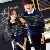 Fashion Couples Knitwear Sweater Women Autumn Winter Round Collar Pullover Lady Cartton Knit Sweater Man Women