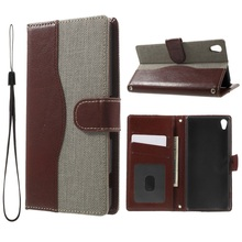 "For Sony Xperia X A 5.0""  Phone Cover/Shell  Jeans Cloth Skin Leather Wallet Flip Case for Sony Xperia XA/Dual – Grey"