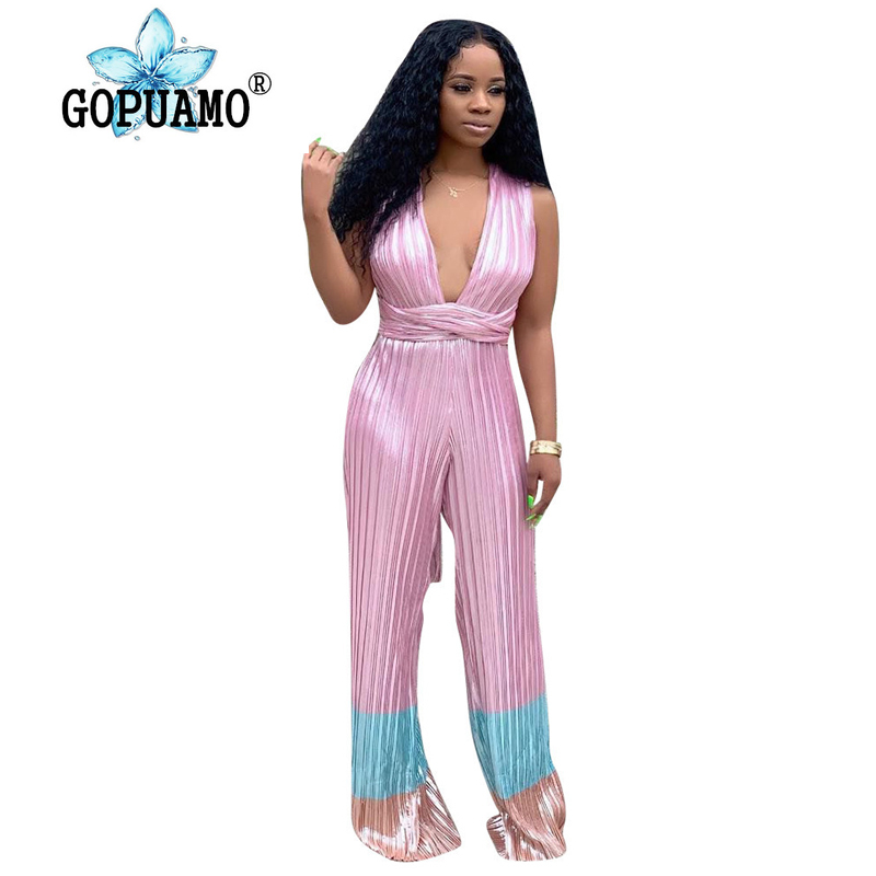 Pink Blue Pleated Rompers Women Jumpsuit Deep V Neck Sleeveless Long Wide Leg Bodysuit Casual Cross Backless Full Length Overall