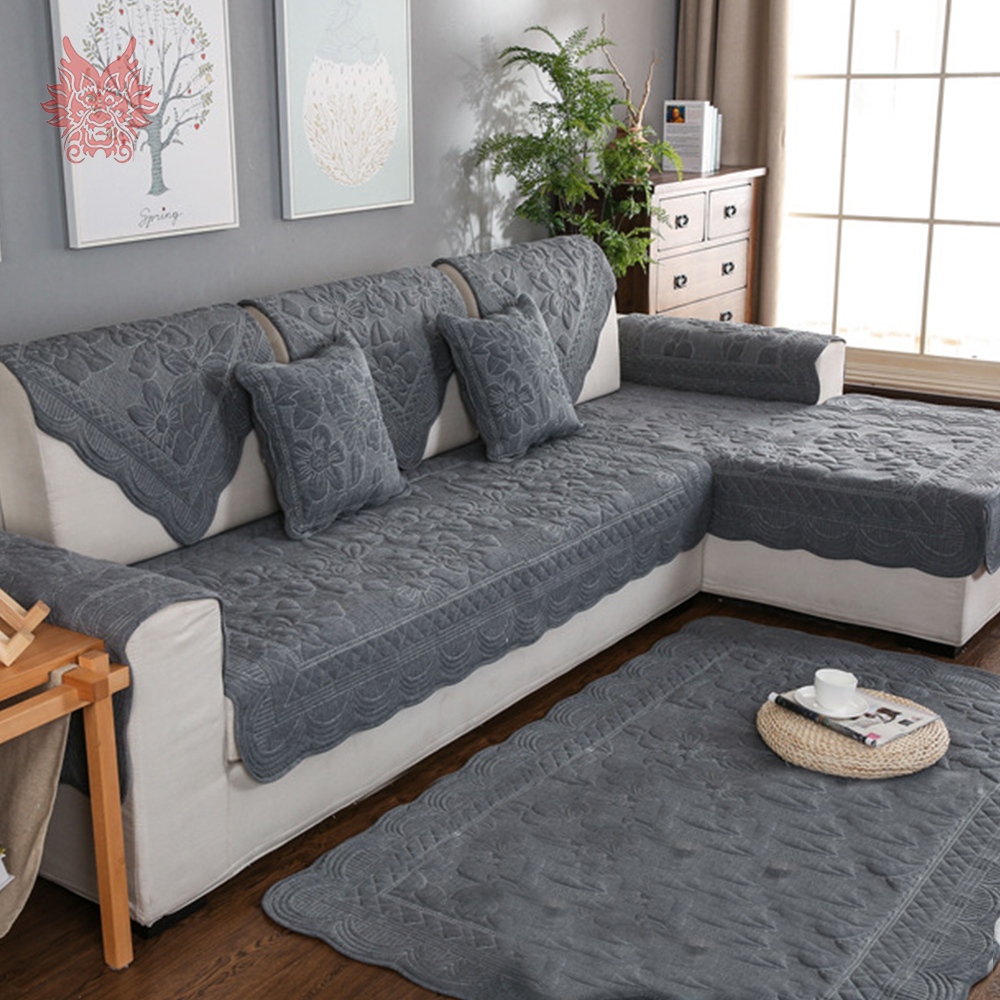 Khaki Grey Floral Embroidery Quilted Sofa Cover Cotton