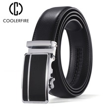 Coolerfire Belts For Men Genuine Leather Cowskin Black Belt Automatic Buckle High Quality Business Male Mens ZD073