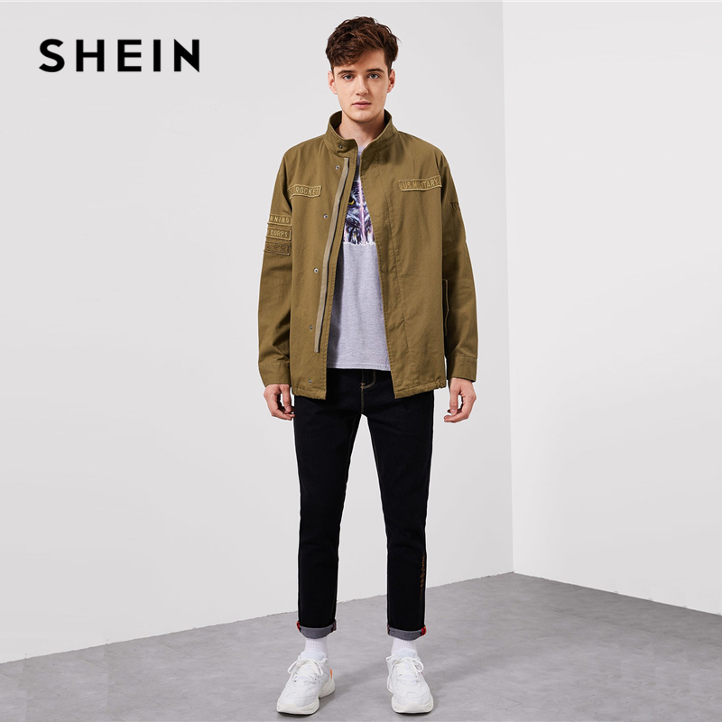 d9d7e3fe00 SHEIN Men Khaki Letter Patched Flap Pocket Coat Casual Cotton Zipper Single  Breasted Outerwear Mens Autumn Fashion Coats-in Jackets from Men's Clothing  on ...
