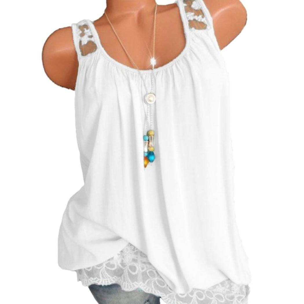 Women Summer O-Neck Tank Tops Sleeveless Solid Shirts Lace Regular O-neck Casual Vest(China)