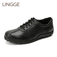 LINGGE Brand Men S Genuine Leather Shoes Black Lace Up Casual Men Shoes Plus Size 40