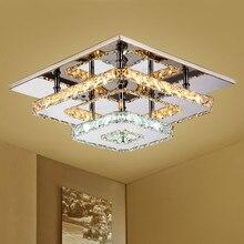 Современный минималистичный Креативный светодиодный потолочный светильник из нержавеющей стали, домашний декоративный квадратный теплый белый Хрустальный потолочный светильник 110-240 В