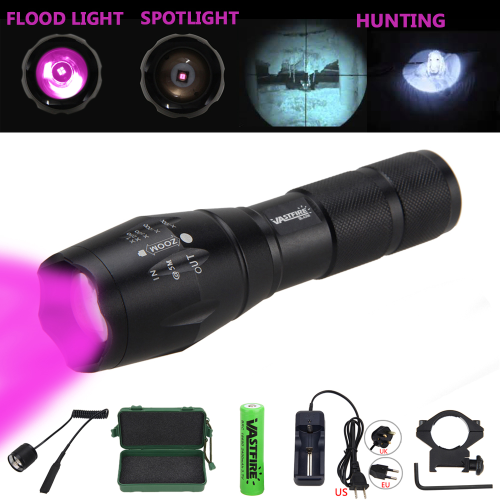 Zoomable Hunting Torch 5W 850nm Infrared Night Vision Flashlight LED Torch with 18650 Battery Set and Gun Mount