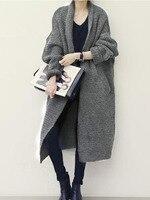 Women Sweaters Casual Elegant OL Plus Size Loose Cardigan Thick Lapel Solid Female Spring Warm Vintage Wool Tops Long Knitwear