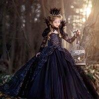 Платья для девочек черный В стиле принцессы Платье с цветочным узором Robe Enfant Fille платок Корона Цепочки и ожерелья queen Одежда для девочек 3 4 дл