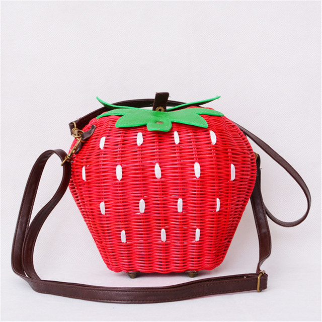 新しいわらバッグ籐バッグ牧歌織ファッションハンドバッグフルーツイチゴの漫画のメッセンジャーバッグ