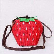 Bolso de paja tejido pastoral para mujer, bolsa de mimbre tejida a la moda, bolsa de frutas y fresas, bolsa mensajero de dibujos animados
