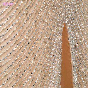 Image 5 - Luxo ouro longo cristais beading vestido de noite sereia vestido de noite formal vestidos femininos yqlnne