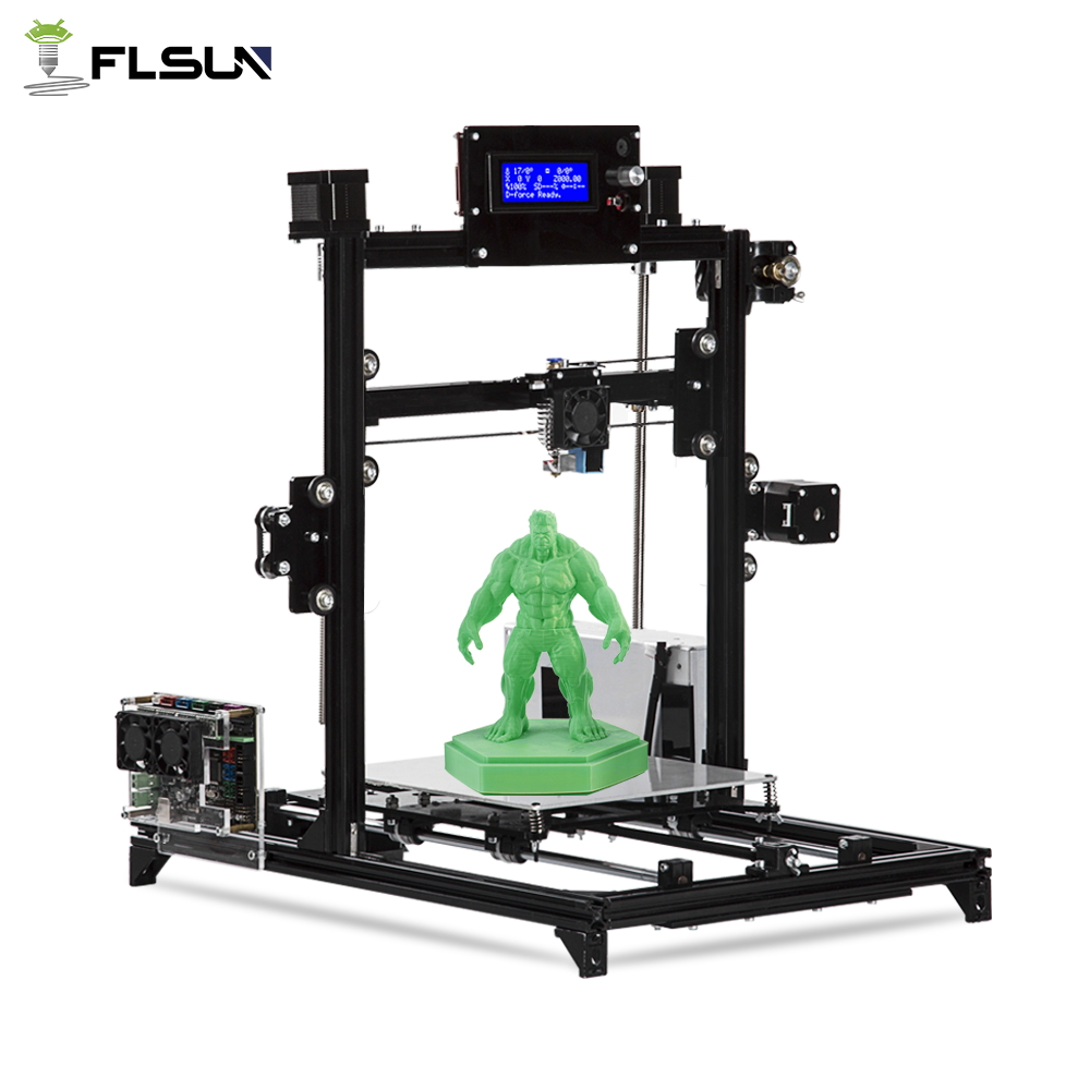 Flsun I3 3d Imprimante Auto Niveau BRICOLAGE 3D-Printer Kit Impression Taille 200*200*220mm Haute Précision Double Z Moteurs Chauffée Lit Soutien