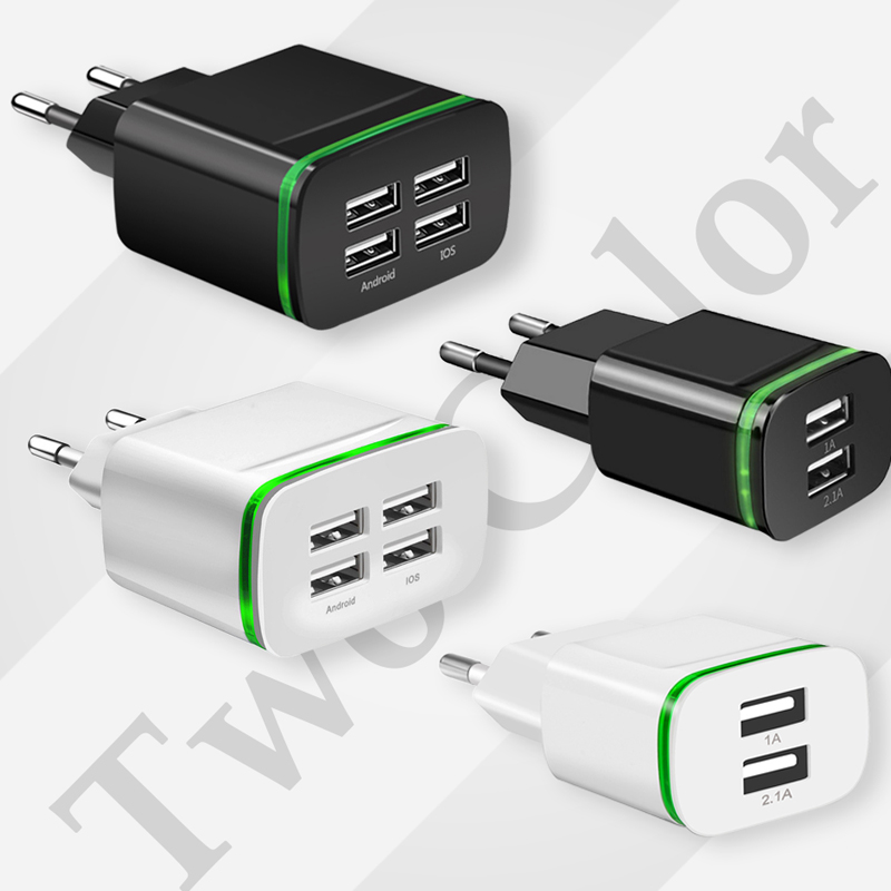 4 Ports USB Wall Charger Smart Travel Adapter Portable Mobile phone Fast Charging for iPhone Samsung X Xaiomi S8 Charger Device