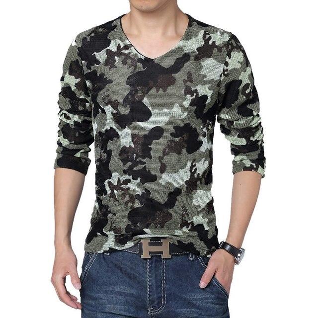 new spring fashion brand men t shirt 2017 long sleeve t shirt big yards military camouflage mesh shirt men brand