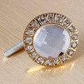 FSLH-1pcs Crystal Glass Limpar Rodada Puxador Brilhante Rhinestone Knob para Armário Gaveta