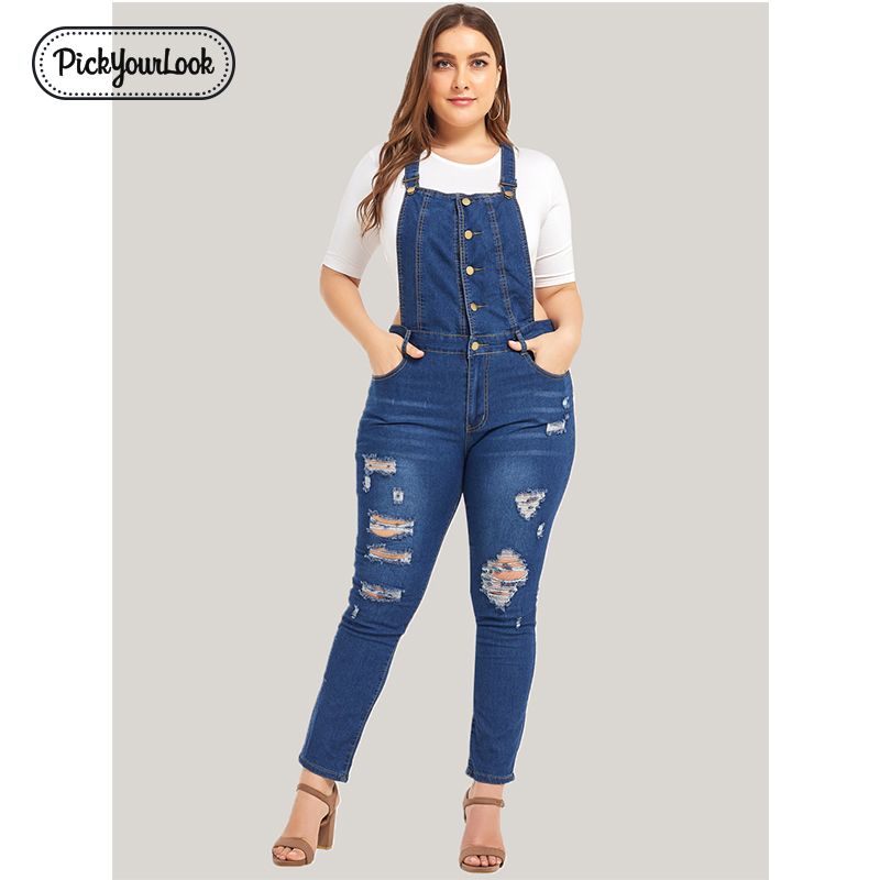 Pickyourlook Women Plus Size   Jumpsuit   Blue Fashion Strap Lady Bodysuit Overalls Denim Backless Large Size Female Body Rompers