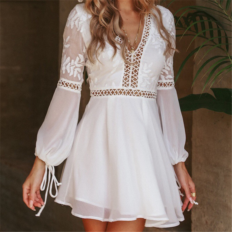 Elegant Women Summer Casual Boho Backless Sleeve Hollow-out Solid Dress Evening Party Summer Beach Sundress