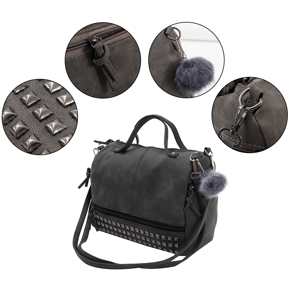 Vintage Nubuck Leather Ladies Handbags Rivet Larger Women Bags Hair Ball Shoulder Bag Motorcycle Messenger Bag Top-Handle Bag 2