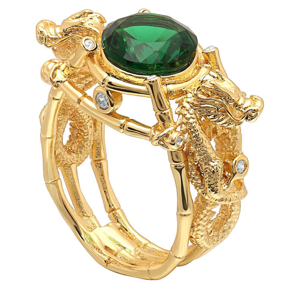 Hainon ผู้ชายสีแหวนมังกรหินสีเขียวรอบ Zircon แหวน Vintage Punk แหวนนิ้วมือเครื่องประดับผู้หญิง