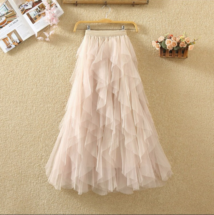 Women irregular Tulle Skirts Fashion Elastic High Waist Mesh Tutu Skirt Pleated Long Skirts Midi Skirt Saias Faldas Jupe Femmle 58