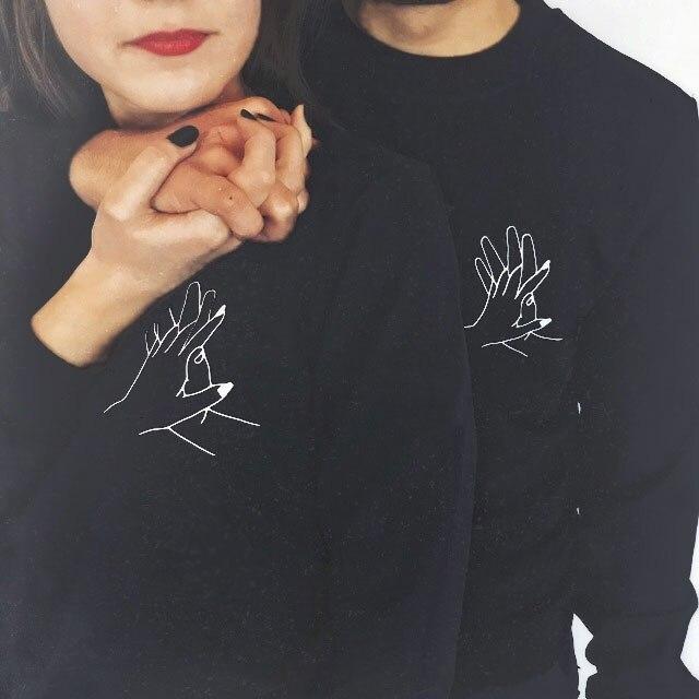 Hombres y Mujeres par de sudaderas con capucha primavera otoño gráfico negro amante de enclavamiento de los dedos de la mano de impresión jerseys de alta calidad Sweashirt