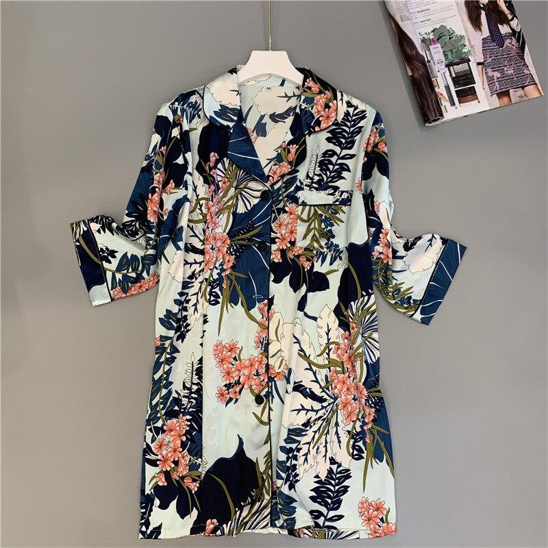 2019 Autumn Ladies Nightgowns Sleepshirts Half Sleeve Nightshirts Silk Sleepwear Satin Sexy BF Nightdress Oversized Nightwear