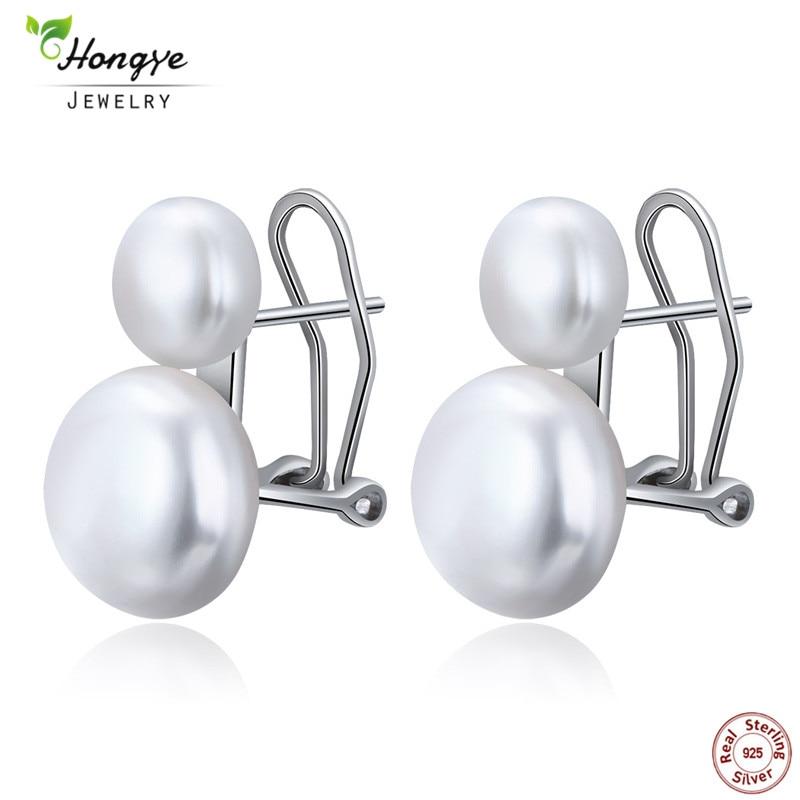 Hongye Natural Freshwater Pearl Earrings 925 Sterling Silver jewelry Double White Pearl Stud Earring for Women Wedding Gift