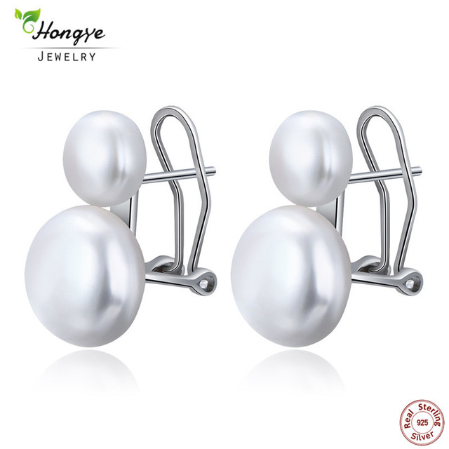 Hongye Natural Freshwater Pearl Earrings 925 Sterling Silver jewelry Double Whit
