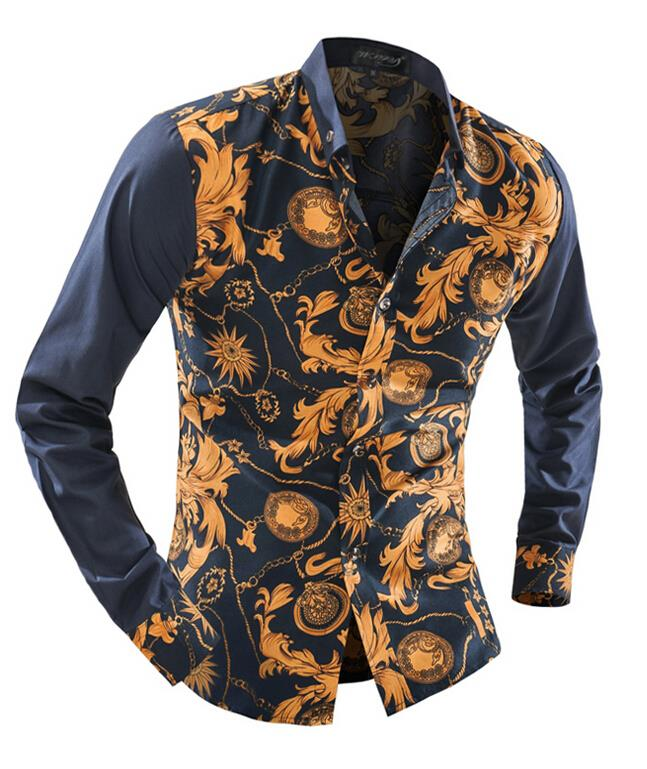 1b71a4a9037e Phanteen Spring Autumn Long Sleeve Man Shirts Floral Pattern Printed ...