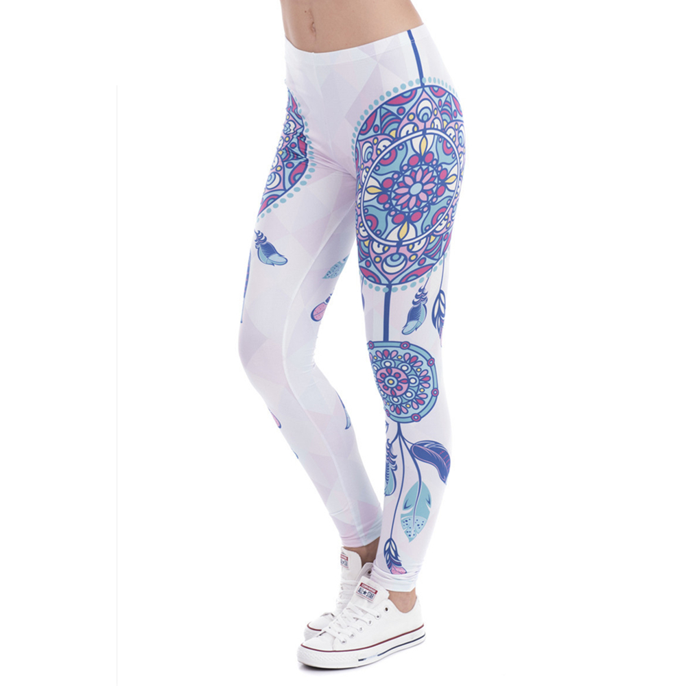 Brand Fashion Women Legins Mandala Feathers Printing Sexy Slim Stretch   Legging   High Waist   Leggings   Woman Pants