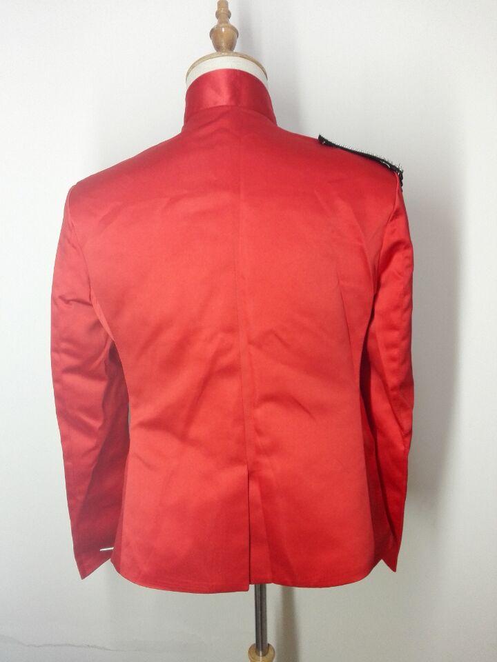 rote dünne männliche Kostümjackeblazer-Manteldiamantsteinstufe - Herrenbekleidung - Foto 6
