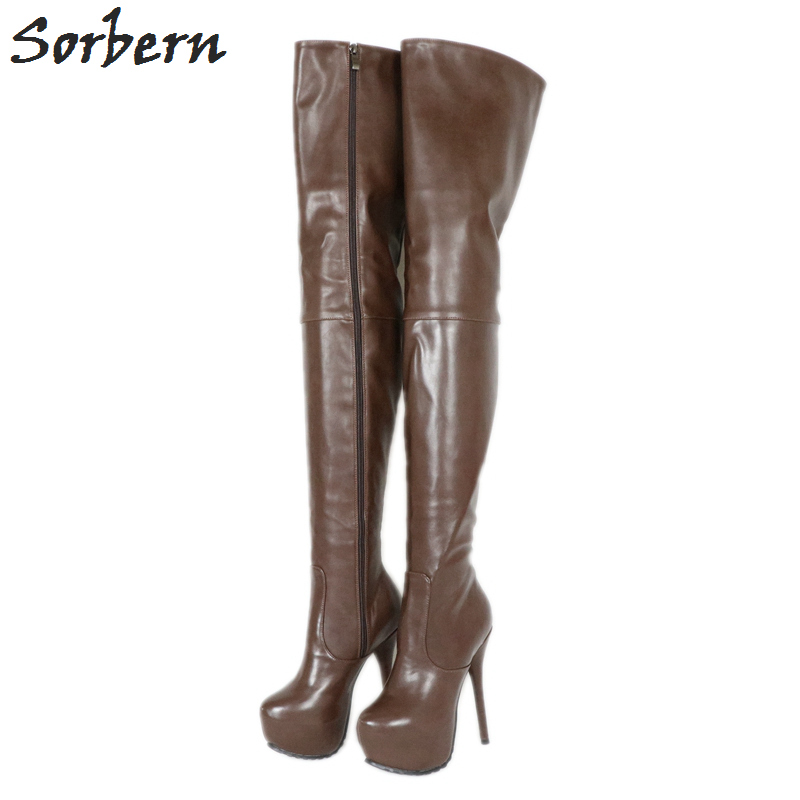 b523900a2cca Sorbern Deep Coffee Boots Women Over Knee Med Thigh High Ladies Boot  Platform High Heel Custom