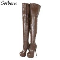 Sorbern глубокий кофе сапоги и ботинки для девочек для женщин выше колена до середины бедра женские сапоги на платформе высоком каблуке под