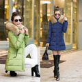 Winter New Women's Korean Cultivating Down Cotton Long Coat Hooded Padded Jacket Winter Coat Women Down Coat