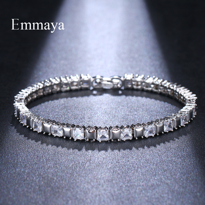 Emmaya Silver Plated Cubic Zircon Simplicity Shining Bracelet Delicate Chain Party Night Club Ornaments