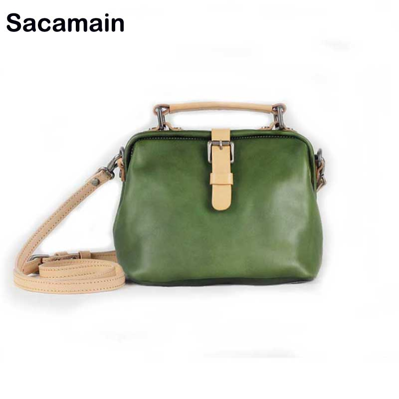 Sacamain Brand Luxury Shoulder Bags Vintage 100% Cow Leather Women High Quality Genuine Leather Simple Messenger Bag Leisure 100% genuine leather women shoulder bags simple fashion real skin cowhide simple messenger bags leisure female messenger bag
