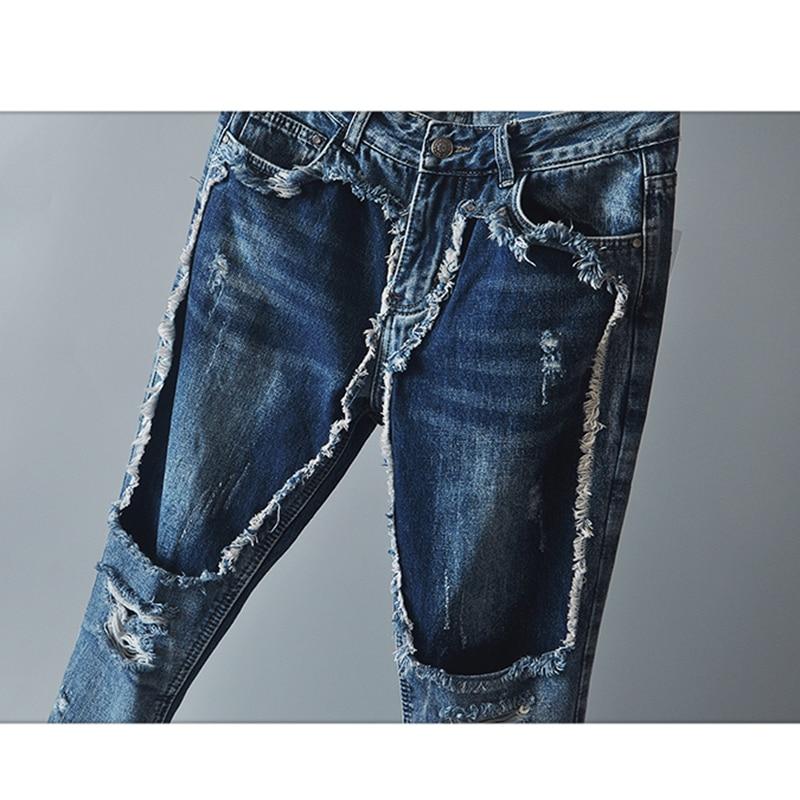 Patchwork Blue Jh95 Trou Hop longueur Pantalon Denim Femmes Jeans Cheville Hip Fille Pour Déchiré wOXn74nx