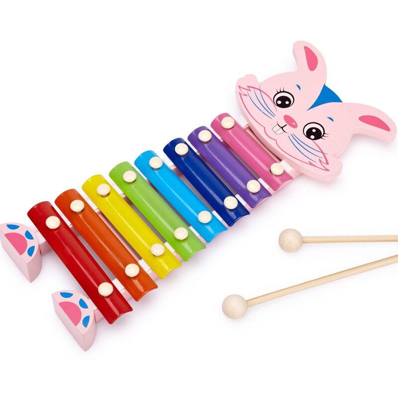 Игрушек! Милые обучающие деревянные музыкальные игрушки Радужный кролик ручные узелки ксилофон 8 нот Девочка День рождения Рождественский подарок 1 шт