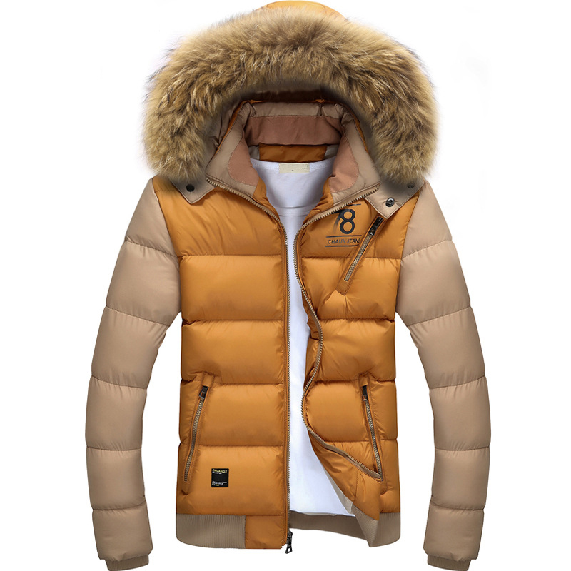 Slim Fur Collar Mens Winter Coat With Hood Factory Support Thick